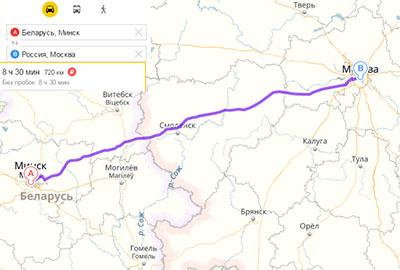 Маршрут перевозок из Минска в Москву